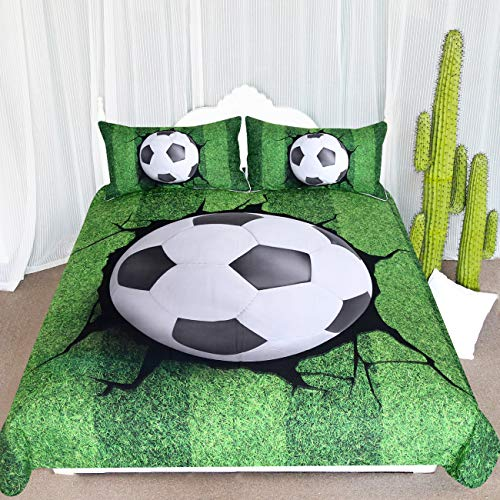 ARIGHTEX Teen Soccer Bedding Set 3 Piece Boys Sports Themed Duvet Cover Crack Ball Breaking Pattern Green White and Black Bedspread (Full)