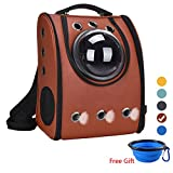 Bubble Backpack Pet Carriers Airline Travel Approved Carrier Switchable Mesh Panel for Cats and Dogs (Brown)