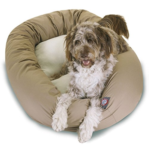 52 inch Khaki & Sherpa Bagel Dog Bed By Majestic Pet Products from Majestic Pet