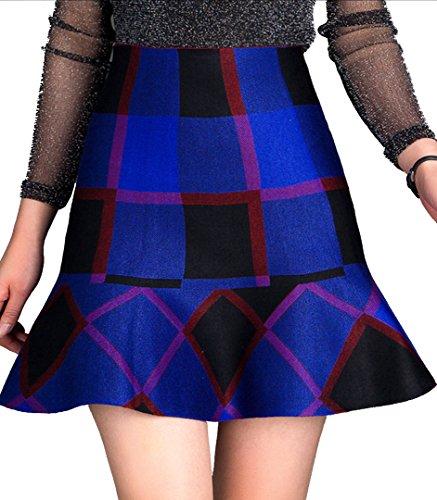 Helan Mujeres Knitting Corto grande de color Faldas bloque Azul