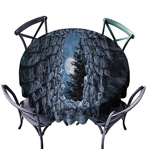 VIVIDX Round Tablecloth,Gothic,Dark Cave with The Full Moon at Night Scary Horror Medieval Gothic Artwork Print,High-end Durable Creative Home,43 INCH,Blue -