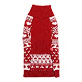 EFINNY Pet Cat Dog Christmas Costume Snowflake Turtleneck Knited Cotton Sweater