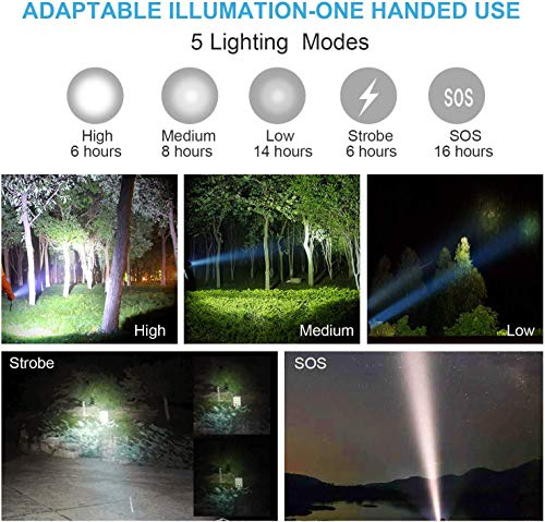 LETION LED Torch Rechargeable LED Torch Super Bright 1500 Lumen,with 2×18650 Rechargeable Battery,Tactical Flashlight with USB Charger,5 Modes Zoomable,IPX4 Waterproof Torch for Outdoors and Indoors.