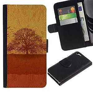 KLONGSHOP / Tirón de la caja Cartera de cuero con ranuras para tarjetas - Vintage Tree - Apple iPhone 5 / 5S