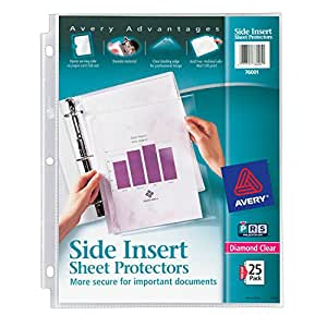 Avery Secure Side-Load Sheet Protectors, Heavy Gauge, Letter Size, Diamond Clear, 25 per Pack (76001)