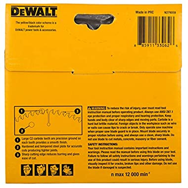 DEWALT DW03540 125mm 40T TCT Circular Saw Blade for cutting MDF,Plywood and Laminated Wood 8