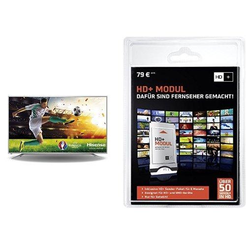 Hisense H65MEC5550 163 cm (65 Zoll) Fernseher (Ultra HD, Triple Tuner, DVB-T2 HD, Smart TV)+ HD PLUS CI+ Modul für 6 Monate (inkl. HD+ Karte, optimal geeignet für UHD, nur für Satellitenempfang) Bundle