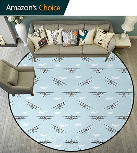 - Airplane Computer Chair Floor Mat,Old Aircraft Biplanes In Blue Sky Speedy Propellers Wings Retro Design Printed Round Carpet For Children Bedroom Play Tent Diameter-51 Inch,Pale Blue Black White