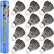 BROTOU 12 Pack Badminton Shuttlecock, Goose Feather Badminton Birdies Balls, High Speed Training Sport Badmint