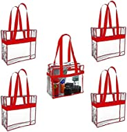 Funiverse 5 Pack Regulation Sized Clear Stadium Tote Bag Perfect for Stadium or Arena Entry (Red)