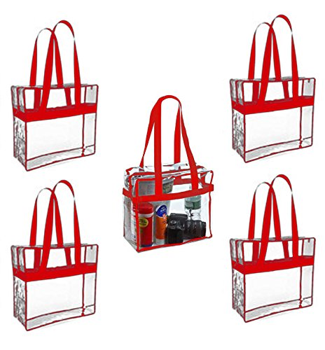 Sea View Treasures 5 Pack Regulation Sized Clear Stadium Tote Bag Perfect for Stadium or Arena Entry (Red)