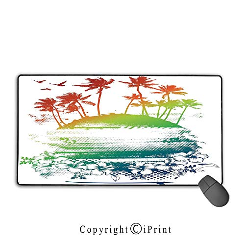 (Extended Mousepad with Durable Stitched Edges,Ocean Island Decor,Grunge Style Artsy Inky Colorful Summer Scenery with Palms and Hawaiian Hibiscus Flowers,Multi,Ideal for Desk Cover, Computer Keyboard,)