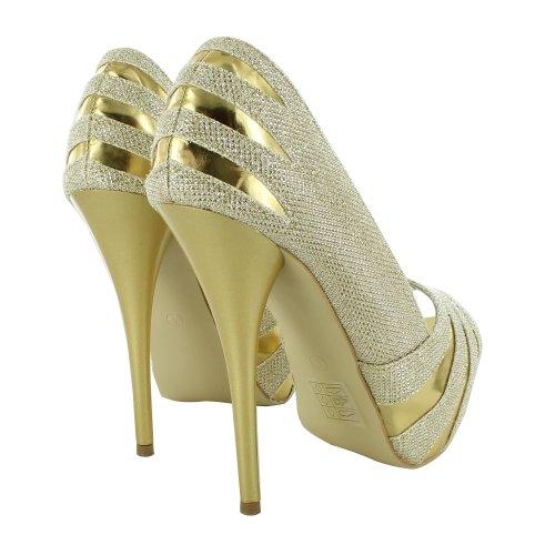 Footwear Sensation - punta abierta mujer dorado - dorado