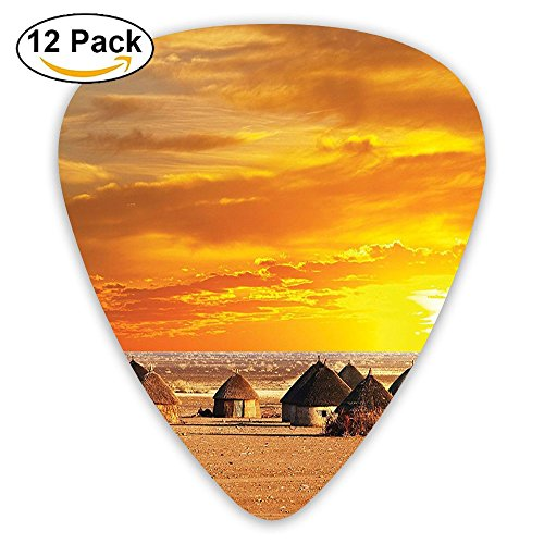Newfood Ss African Landscape Of A Small Town With Horizon Skyline At Dawn Ethiopian Guitar Picks 12/Pack Set