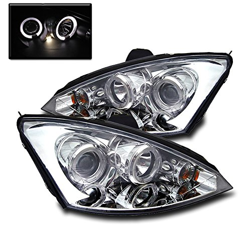 ZMAUTOPARTS Ford Focus LX SE Zx3 Zx5 Dual LED Halo Projector Headlight Chrome - Focus Dual Halo Projector Headlights