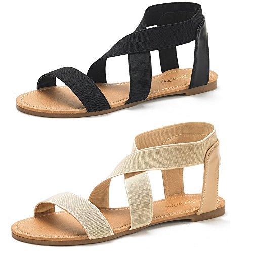 (DREAM PAIRS Women's Elatica-6 Black and Nude (2 Pairs) Elastic Ankle Strap Flat Sandals - 9 M US)