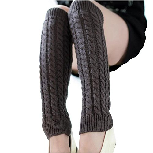 Price comparison product image ieasysexy Women Ladies Winter Fashion Leg Warmers Stocking Knit Thick Long Socks Lady Knit Crochet Legging Best Xmas Gift (dark grey)