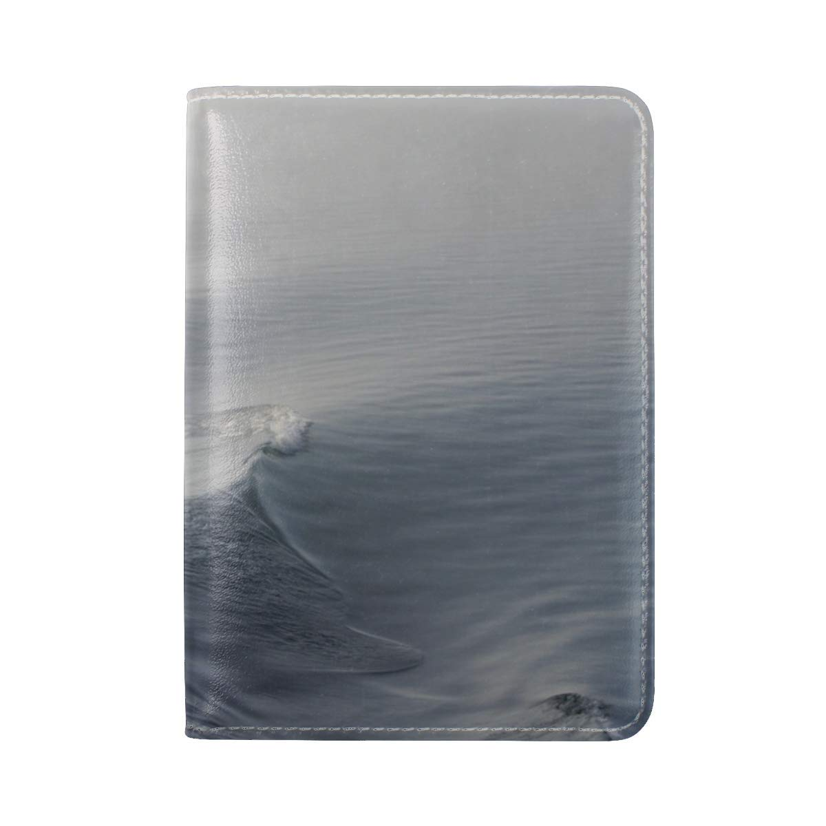 Water Waves Fog Leather Passport Holder Cover Case Travel One Pocket