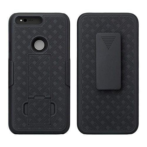 Google Pixel Case (Verizon Wireless) Secure Holster Shell & Kickstand Combo Quality Dual Layer Multi Design Protection Cover XYZ (Black Holster Combo)