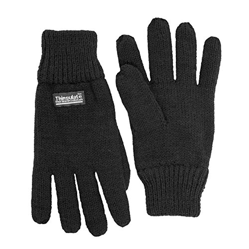 SANREMO Unisex Kids Knitted Fleece Lined Warm Winter Gloves (7-14 Years, Black) (Thermal Fleece Mittens compare prices)
