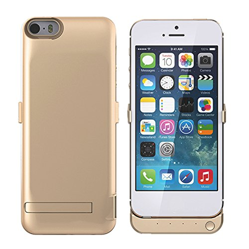 iPhone 5 5S 5C SE 4000mAh Battery Case, BasicStock Extender Battery Battery Charger Cover Case for iPhone 5 5S 5C SE 4000mAh,Extender Battery Power Bank Case Golden -  LR24-YH-467