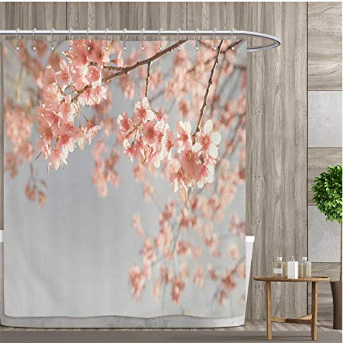 smallfly Peach Shower Curtain Customized Japanese Scenery Sakura Tree Cherry Blossom Nature Photography Coming of Spring Bathroom Set with Hooks 72