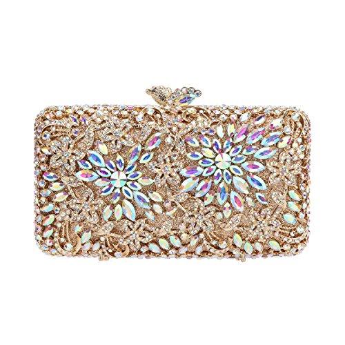 Fawziya Flower Clutch Purse Luxury Women Crystal Evening Clutch Bags-AB Gold