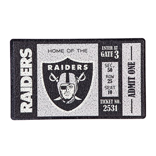 Raiders Oakland Door Mat (Team Sports America Oakland Raiders Recyclable PVC Vinyl Indoor/Outdoor Weather-Resistant Team Logo Door Turf Mat)