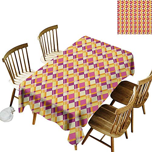 kangkaishi 3D Printed Long Tablecloth Desktop Protection pad Old Fashioned Plaid Pattern Crosswise Lines in Warm Colors Classical Geometrical W60 x L102 Inch Fuchsia Yellow