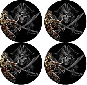 Pirates skull and crossbones Rubber Round Coaster set (4 pack) Great Gift Idea