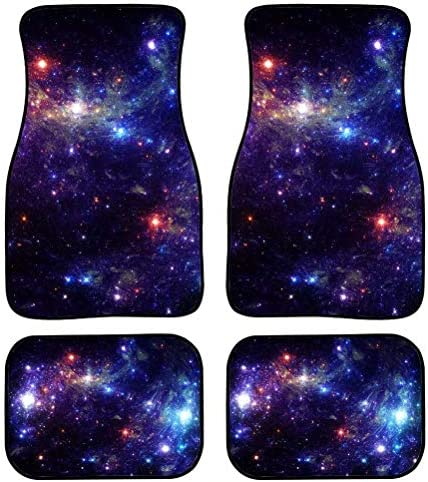 FOR U DESIGNS Universe Galaxy 4pcs All-Climate Rubber Floor Mats for Car SUV Van Truck Heavy Duty Carpet Set Thick, Odorless & All Weather