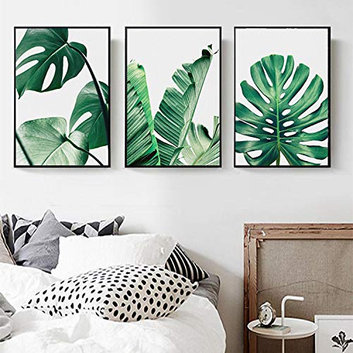 - 7.9 x 11.8inch Paint Oil Paintings Modern Prints Artwork Abstract Landscape Pictures Printed on Canvas Wall Art Home Office Decorations Banana Leaf
