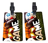 Rikki Knight Sports Balls Design Premium Quality Plastic Flexi Luggage Tags with Strap Closure - Great for Travel (set of 2)