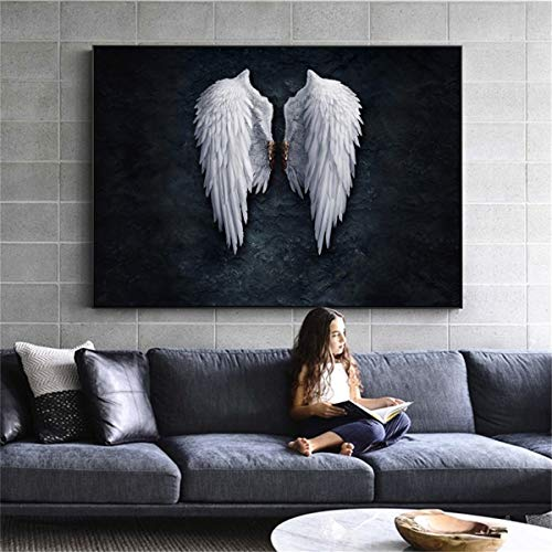 JESC Black White Design Feather Angel Wings Art Print Poster On Canvas Wall Pictures for Living Room Decoration No Frame -