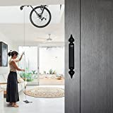 CCJH Steel Sliding Barn Door Pull Handles Gate Handles Frosted Black Spear Style