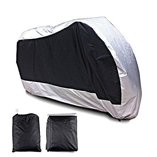 Astra Depot XXXL Motorcycle Cover 180T Waterproof Rain UV Protective Breathable Outdoor Indoor Black Silver + Storage Bag