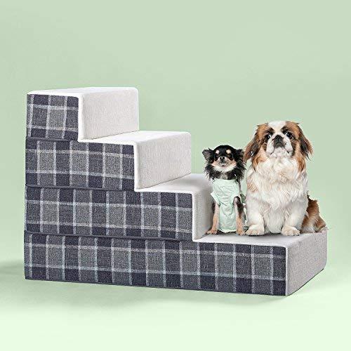 Zinus 4 Step Cozy Pet Stairs/Pet Ramp/Pet Ladder/Grey Checked, X-Large