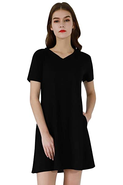 YMING Womens Swing Dress Short Sleeve Dress Slim Fit V Neck Dress XS-3XL