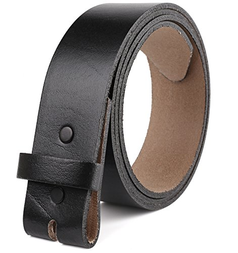 Leather Interchangeable Buckle - Belt for Buckles 100% Top Grain One Piece Leather, up to Size 62,1-1/2