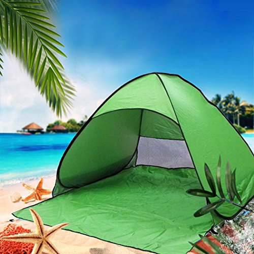 Beach Shade Pop Up,Sunfei Fully Automatic Set-up Camping Beach Shade Tent Speed Open Outdoor UV Protection with Carry Case (Green) by ®Sunfei (Image #1)