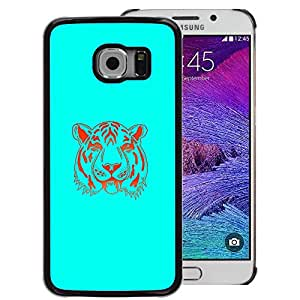 Snap-on Series Teléfono Carcasa Funda Case Caso para Samsung Galaxy S6 EDGE , ( Neon Blue Tiger )