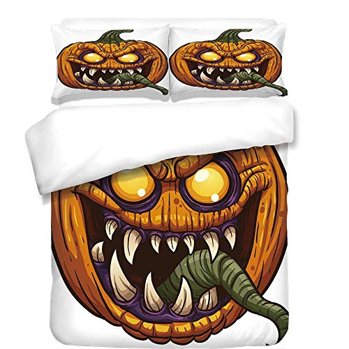 Yaoni 3Pcs Duvet Cover Set,Halloween,Scary Pumpkin Monster Evil Character with Fangs Aggressive Cartoon,Purple Orange Dark Green,Best Bedding Gifts for Family/Friends