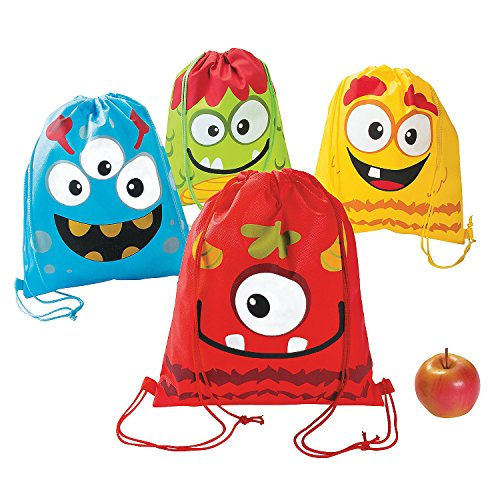 Fun Express - Silly Monster PNW Drawstring Backpack - Apparel Accessories - Totes - Novelty Backpacks - 12 Pieces -