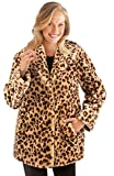 Collections Etc Women's Faux Fur Leopard Shawl Collar Jacket