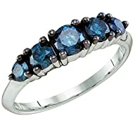 1.00 Carat (ctw) 10k White Gold Round Blue Diamond Ladies 5 Stone Wedding Band Ring