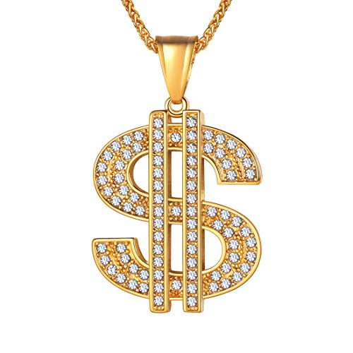 U7 Men's Hip Hop 18K Gold Plated Big Dollar Sign Pendant Necklace, Rhinestone Inlay with 22 Inch -