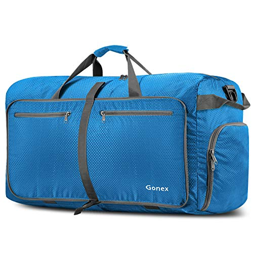 Gonex 100L Foldable Travel Duffel Bag for Luggage Gym Sports, Lightweight Travel Bag with Big Capacity, Water Repellent Blue