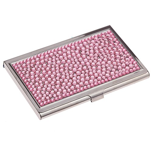 Purely Handmade Luxury Stainless Steel Compact Multi-Size Pink Bling Crystal Business Card Case Cute Rhinestone Travel Name ID Card - Card Pink Business