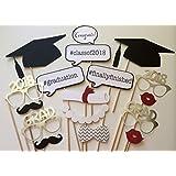 Veewon 2018 Graduation Photo Props Photobooth Party Favor 17pcs Glasses Moustache Red Lips Bow Ties On Sticks Grad Party Decorations