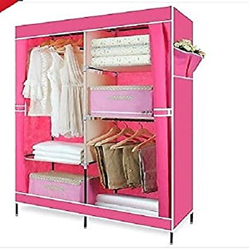 Doppelte Leinwand Kleiderschrank Mit 2 Stangen Schlafzimmer Kleidung